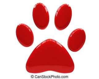 Paw Prints - Red paw print isolated on white background.