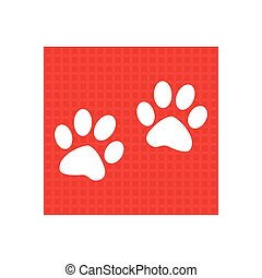 Paw sign icon. Dog pets steps symbol. red square button
