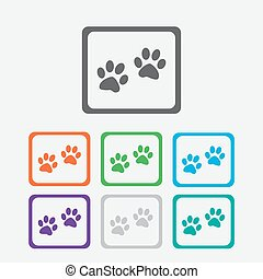 Paw sign icon. Dog pets steps symbol. Round squares buttons with frame. Vector