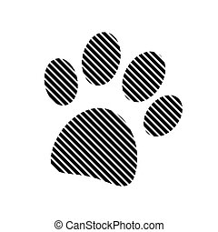 Paw sign on white.