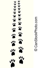 Paw Trail, paw prints animal cat dog footprints, vector away path perspective