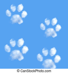 Paw - White fluffy clouds in shape of animal paw on the blue...