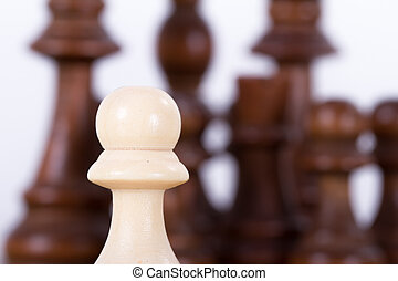 Pawn Against Chess Pieces on Board