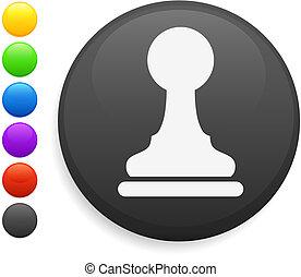 pawn chess piece icon on round internet button original...