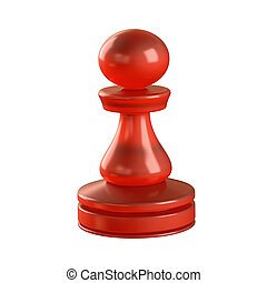 Pawn Chess Piece - Red glass chess piece isolated. Clipping...