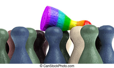 Pawn in the colors of the rainbow flag