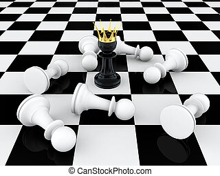 Pawn king - 3D render of black pawn with golden crown...