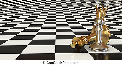 Pawn puts checkmate. Pawn with golden crown. Against the...
