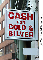 Pawn shop - Pawnshop sign cash money for gold and silver