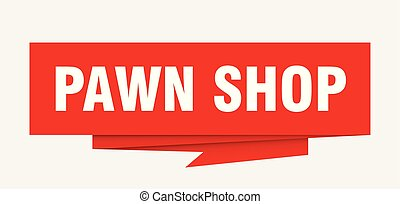 pawn shop sign. pawn shop paper origami speech bubble. pawn...