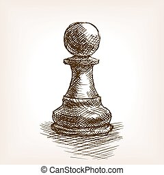 Pawn sketch vector illustration