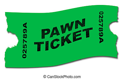 Pawn Ticket - A green pawn ticket over a white background