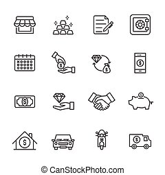 Pawnbroker, pawn shop icons set, Vector illustration of thin line icons for business, banking
