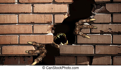 Paws of monster , breaking a brick wall - Dark series - paws...