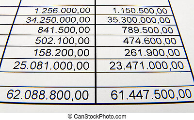 Pay a balance sheet or a statistic. Budget and costs