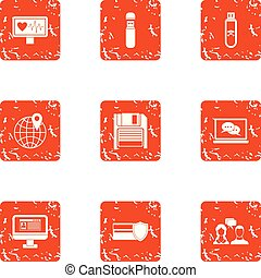 Pay attention icons set, grunge style