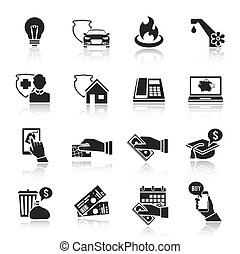 Pay bill taxes payment deposit icons black set isolated vector illustration