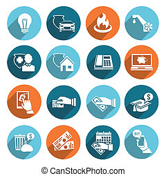 Pay bill online invoice and checks icons flat set isolated vector illustration