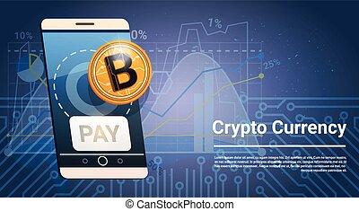Pay Button On Smart Phone Golden Bitcoin Icon Digital Crypto Modern Web Money Concept Vector Illustration