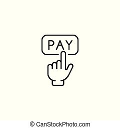 Pay button with hand cursor line icon