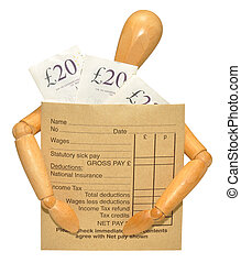 A wooden mannequin carrying a wage packet envelope with banknotes, isolated on a white background