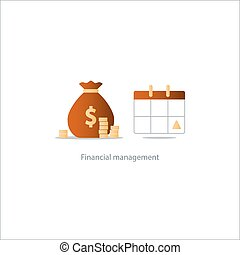 Pay day, monthly payment, calendar time period icon, budgeting account plan