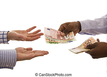 Pay day - Black man giving some euros isolated on white