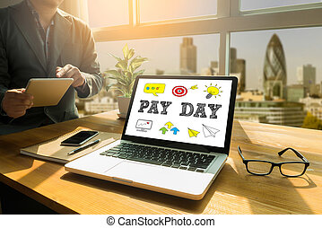 PAY DAY Thoughtful male person looking to the digital tablet screen, laptop screen, Silhouette and filter sun