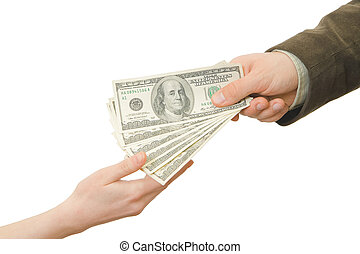 Pay good - Businessman gives the money to the woman