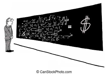 Pay Increase - Business cartoon about a formula that...