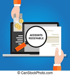 Pay invoice bill holding paper and cash money for transaction online laptop software