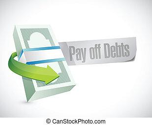 pay off debts sign illustration design