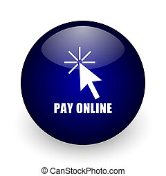 Pay online blue glossy ball web icon on white background. Round 3d render button.