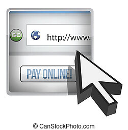 Pay online browser and cursor illustration design