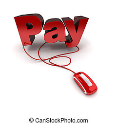 Pay online - Word pay in red connected to a computer mouse