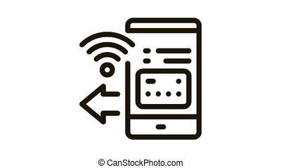 pay pass smartphone app Icon Animation. black pay pass smartphone app animated icon on white background