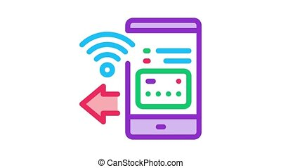 pay pass smartphone app Icon Animation. color pay pass smartphone app animated icon on white background