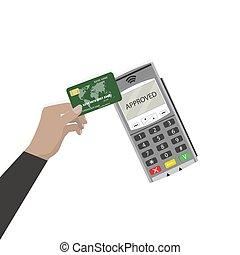 Pay pass use card. Contactless payment. Pay pass payment,...