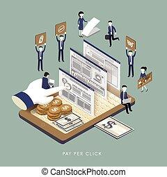 pay per click concept - flat 3d isometric design of pay per...