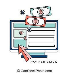 pay per click concept - pay per click internet advertising...