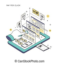 pay per click concept in thin line style
