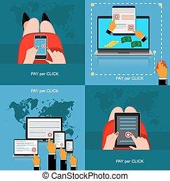 Pay per click concept, set, vector illustration