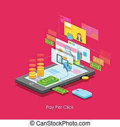 Pay per Click - illustration of Pay per Click concept in...