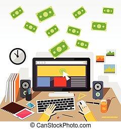 Pay per click flat design illustration.
