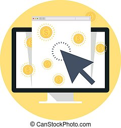Pay Per Click flat style, colorful, vector icon