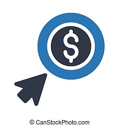 pay per click glyph color icon