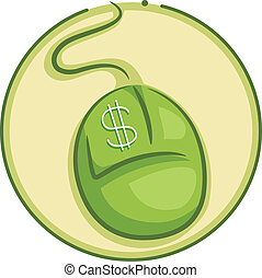 Icon Illustration Featuring a Green Mouse with a Dollar Sign