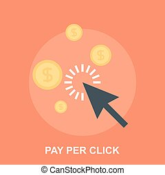 Pay Per Click - Vector illustration of pay per click flat...