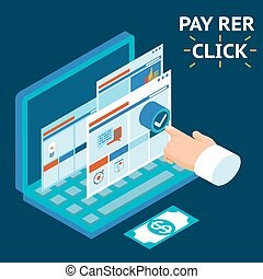 Pay per click, infographics illustration