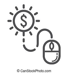Pay per click line icon, seo and development, mouse sign vector graphics, a linear pattern on a white background, eps 10.